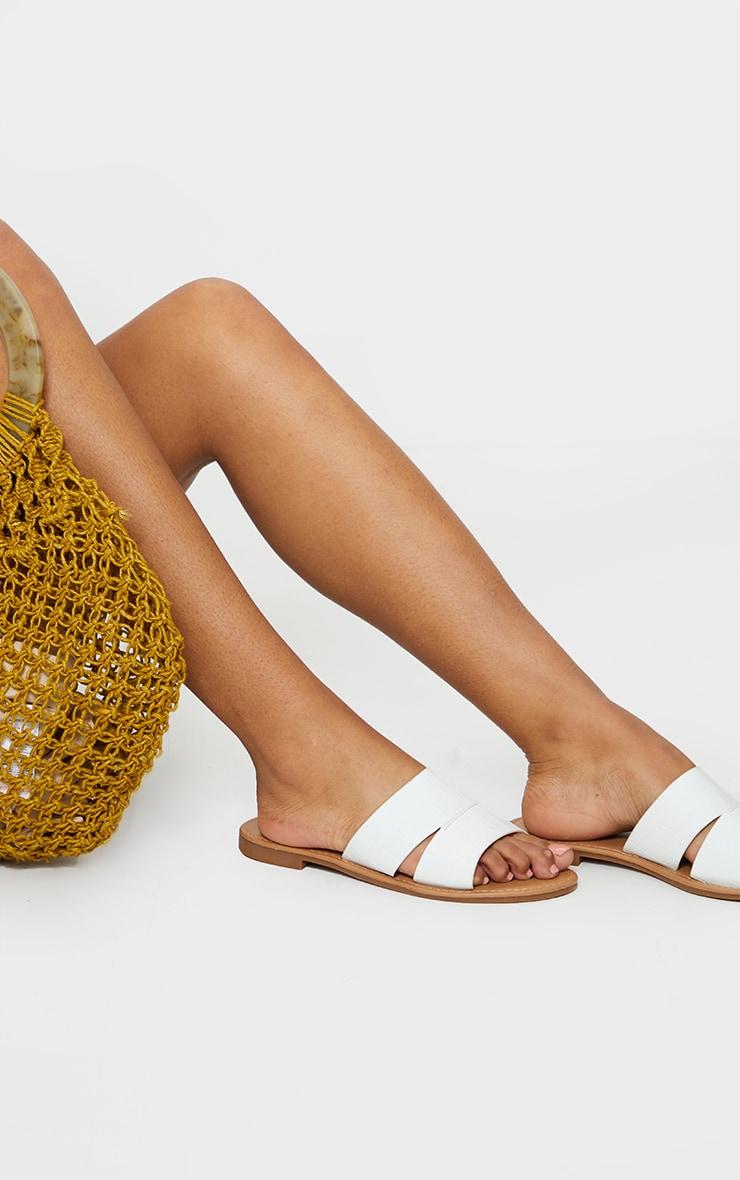 White Croc Double Strap Mule Flat Sandals