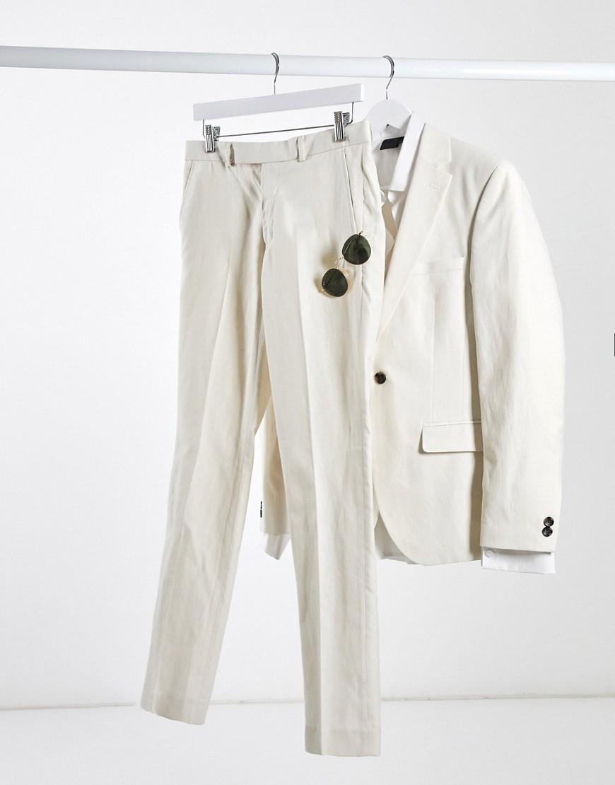 Rudie linen slim fit suit trousers-Cream