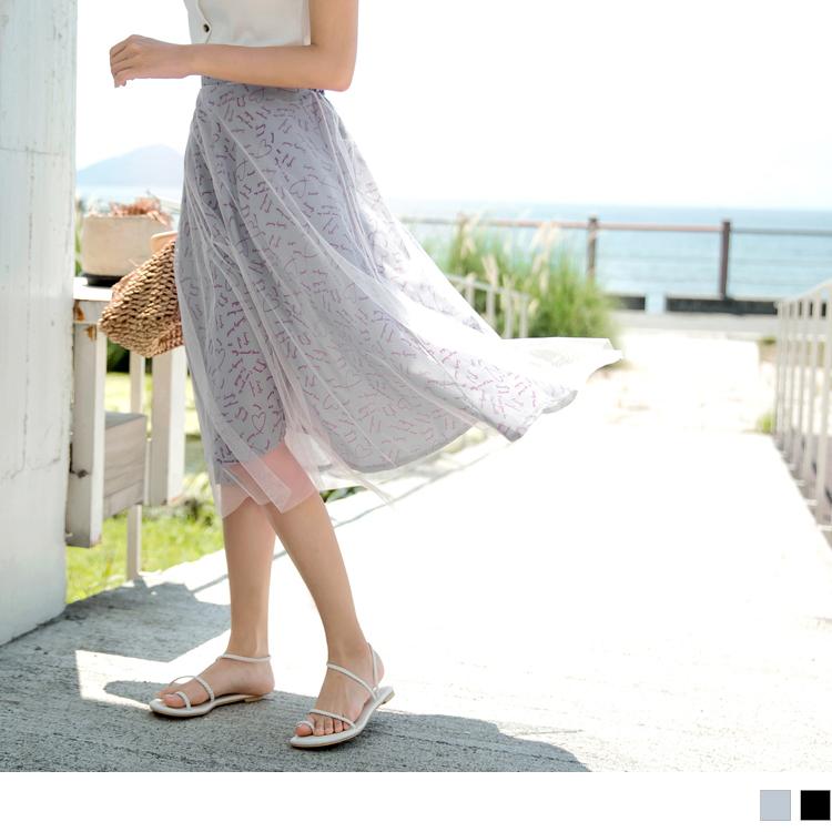 浪漫透紗愛心手繪印花後鬆緊長裙
