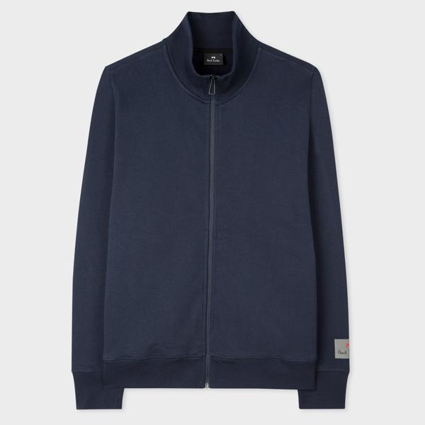 Men's Navy Organic-Cotton Zip Top With Sleeve Print