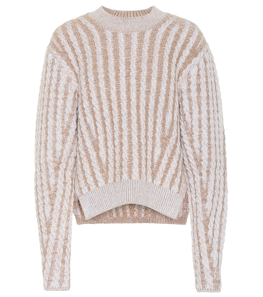 Cable knit wool and mohair-blend sweater