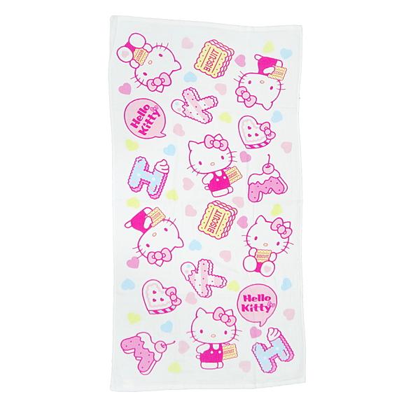 【Sanrio三麗鷗】凱蒂貓點心時刻紗蘿浴巾 100%棉 60x120cm