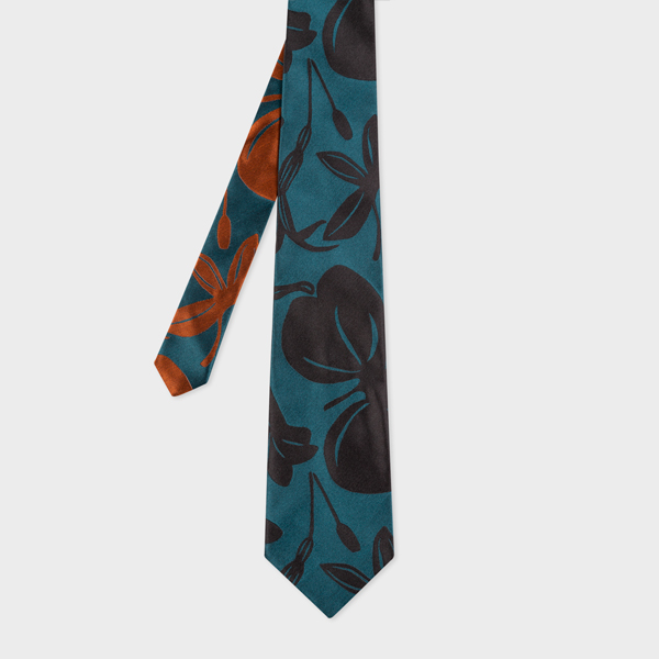 Men's Teal 'Floral Cutout' Silk Tie