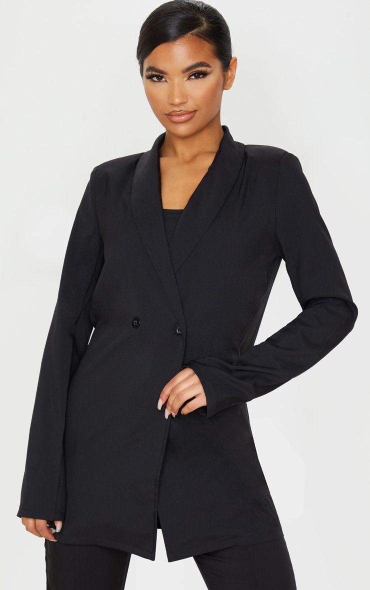 Black Shoulder Pad Double Button Blazer