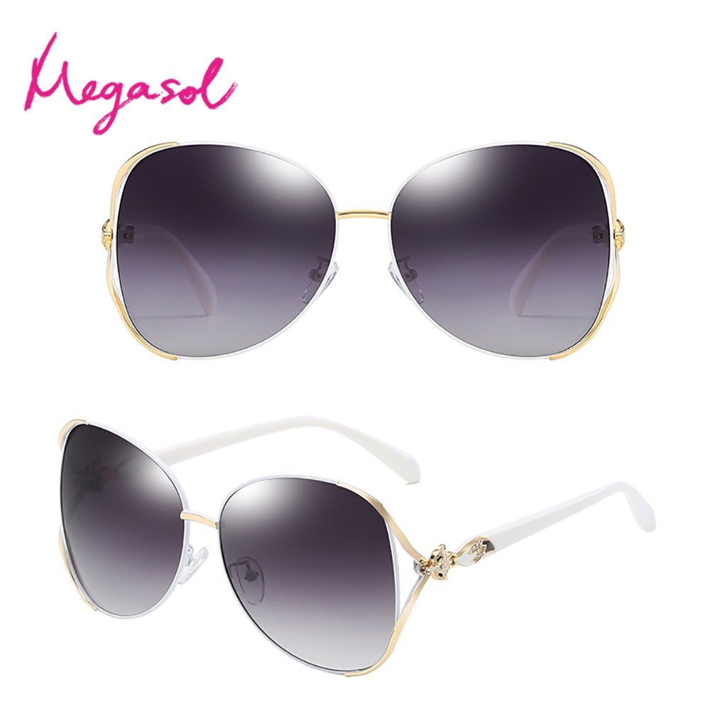 MEGASOL UV400防眩偏光太陽眼鏡時尚女仕大框矩方框墨鏡(魅力簍空金屬鑲鑽狐狸框3151-多色選) 廠商直送