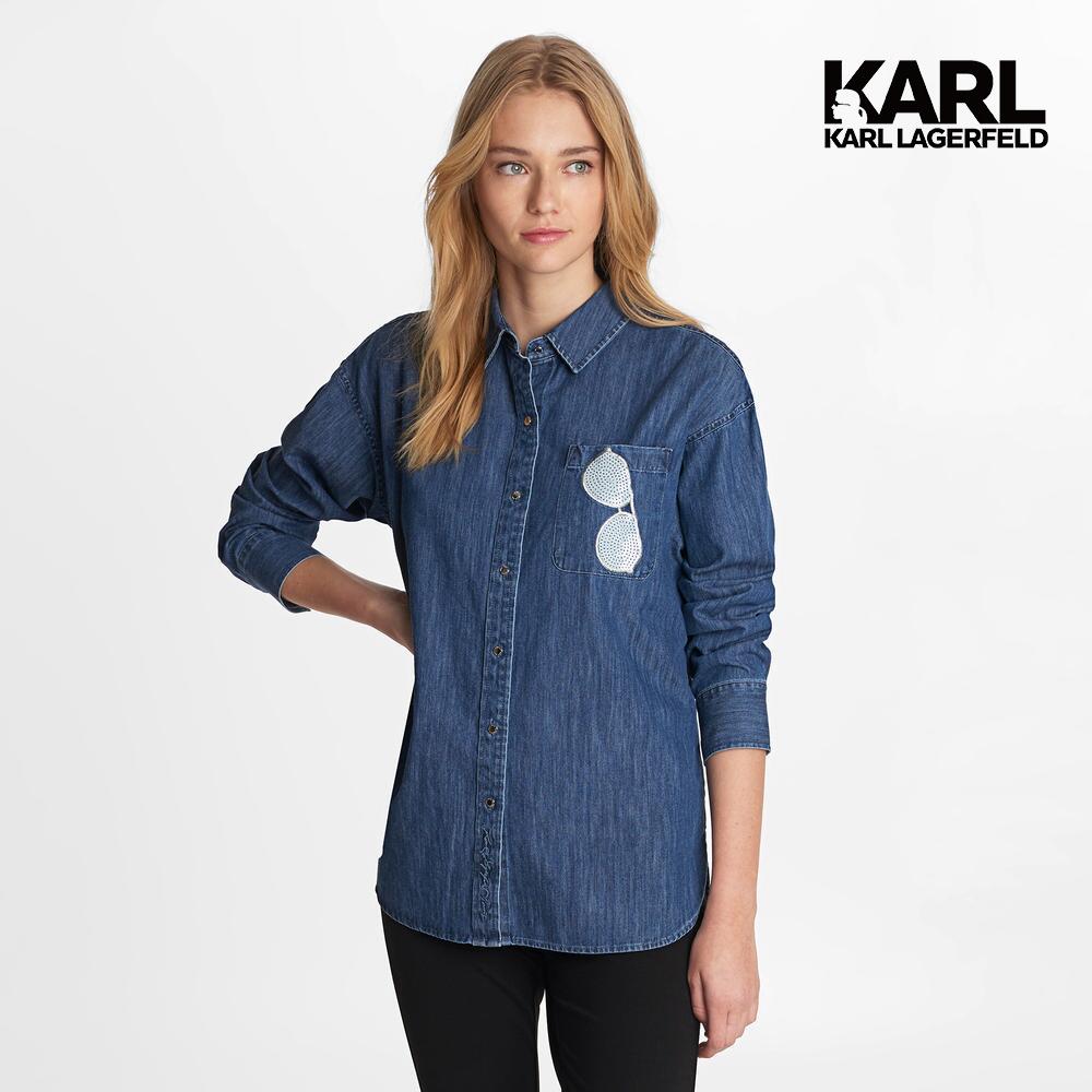 【KARL LAGERFELD】亮片墨鏡造型丹寧襯衫