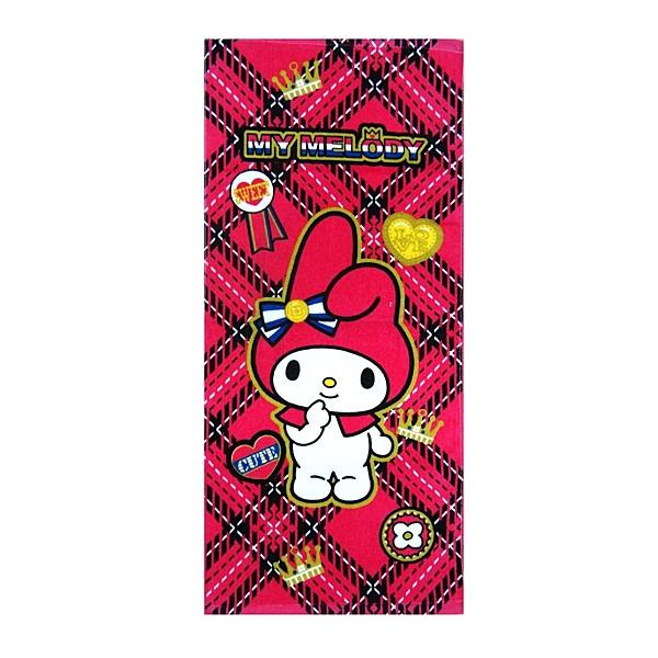 【Sanrio三麗鷗】美樂蒂菱格紋-童巾 100%棉 28x54cm
