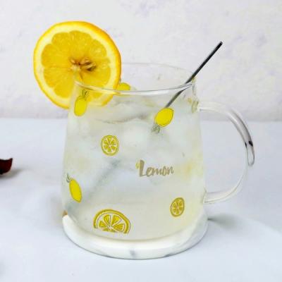 【Caldo卡朵生活】夏日檸檬耐熱玻璃馬克杯(快)