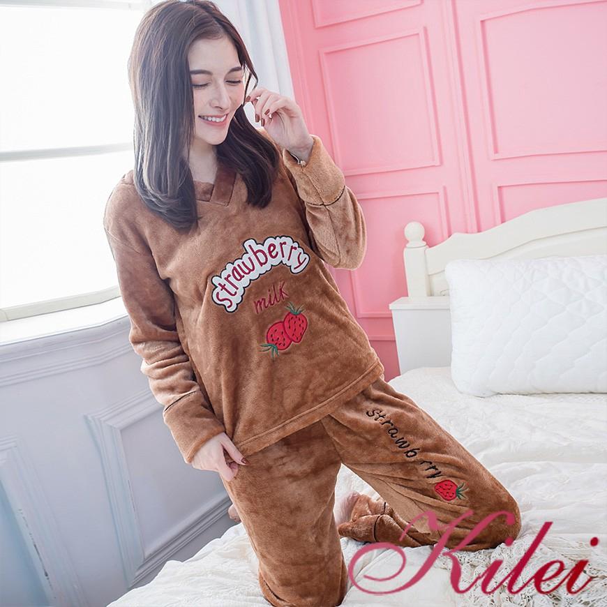 Kilei 冬季保暖睡衣熱賣款水貂絨水果長袖成套厚睡衣居家睡衣XA4269(溫暖咖)全尺碼 廠商直送 現貨