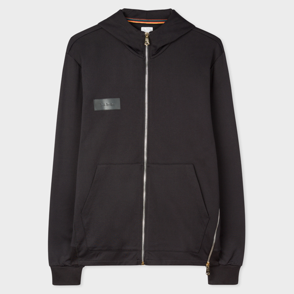 Men's Black Zip Hoodie With 'Paul Smith' Leather Patch