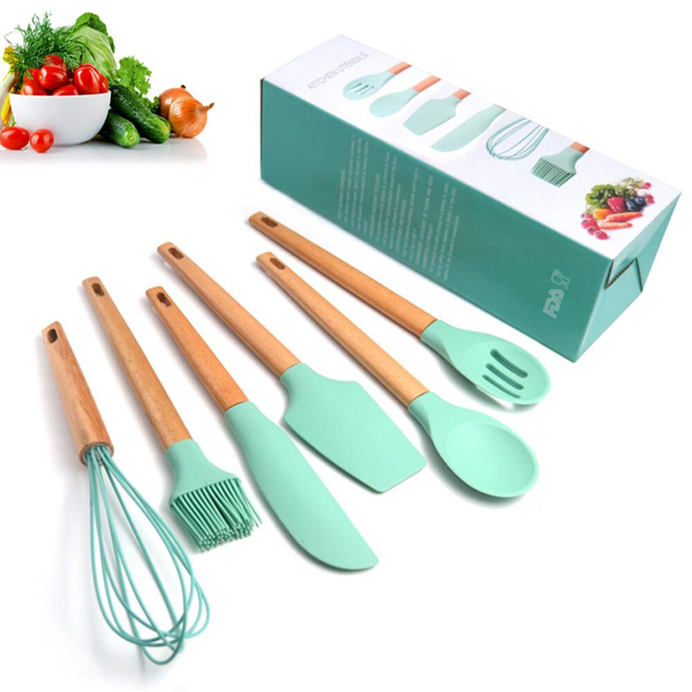 dagebeno荷生活矽膠木質手柄廚具烘培沙拉西點六件套