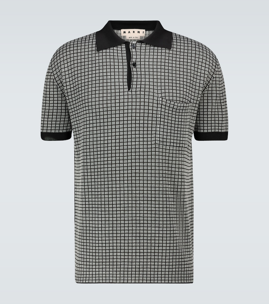 Short-sleeved knitted polo shirt