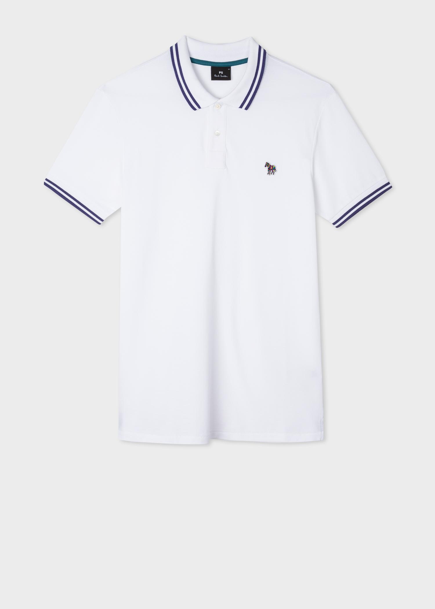 Men's Slim-Fit White Zebra Logo Cotton Polo Shirt With Navy Tipping