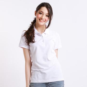女款持續涼感POLO衫-白