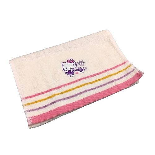 【Sanrio三麗鷗】俏皮凱蒂貓精繡童巾 27x54cm 100%棉 台灣製造
