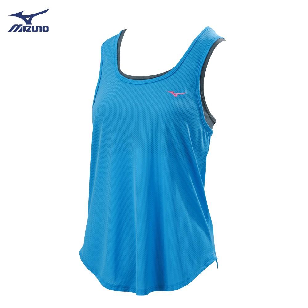 MIZUNO 女裝 背心 慢跑 訓練 瑜珈 彈性 吸汗 快乾 假兩件式 淺藍【運動世界】K2TA920423