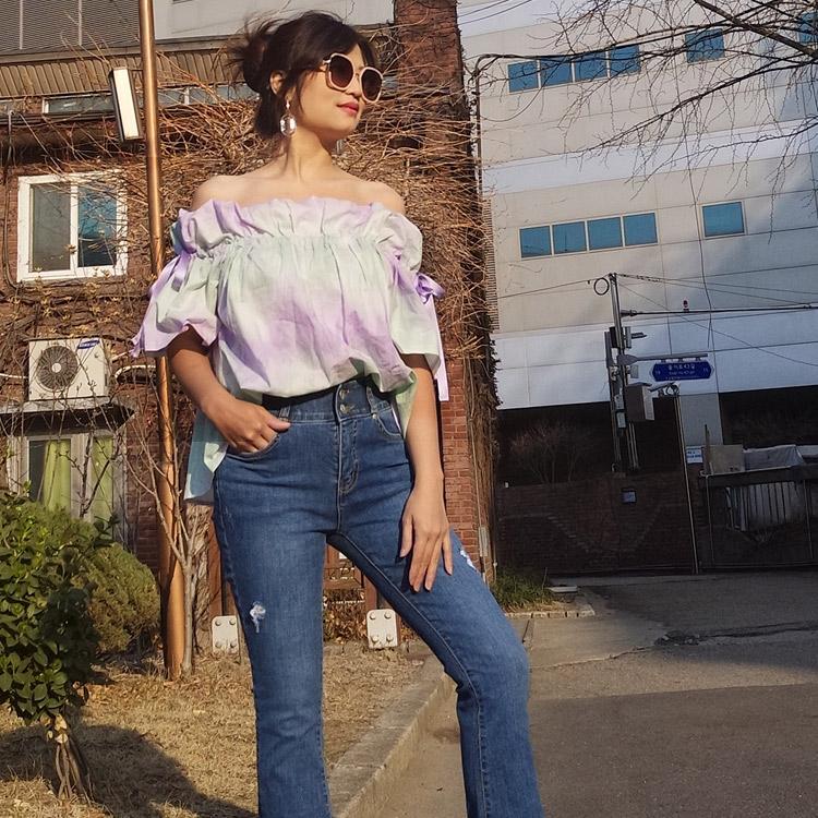 韓國連線vina shop 韓國製渲染彩色一字領綁帶露肩短袖寬鬆漸層上衣【預】KR190363