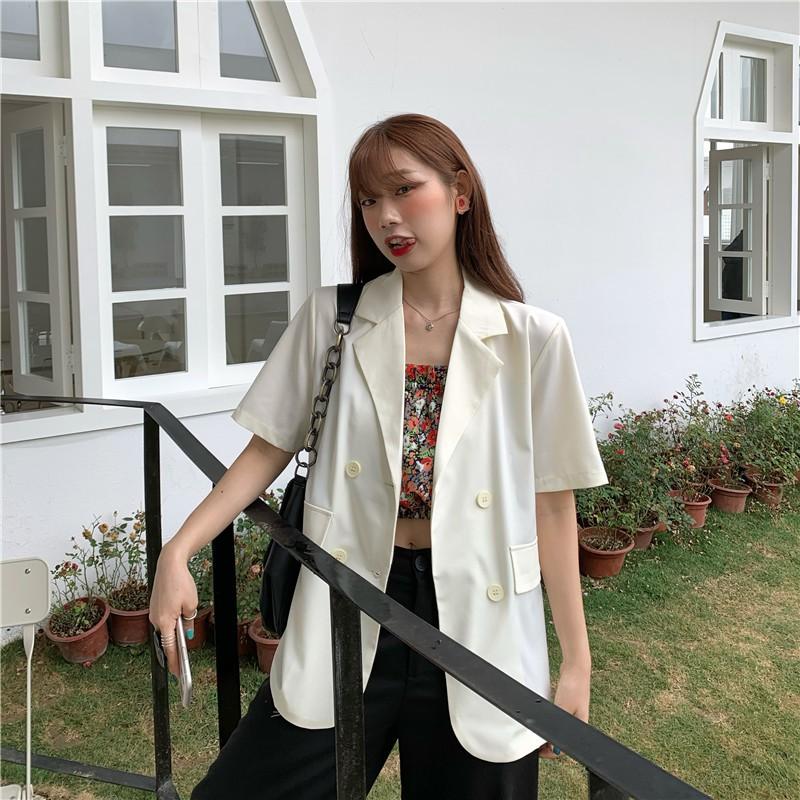 外套 西裝外套 韓版夏季糖果色百搭多色薄款寬松短袖西裝外套