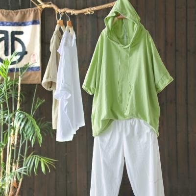 輕薄竹節棉短袖T恤抽繩連帽上衣五色可選-設計所在