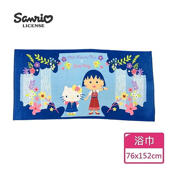 【Sanrio三麗鷗】凱蒂貓x小丸子波西米亞浴巾 100%棉 76x152cm
