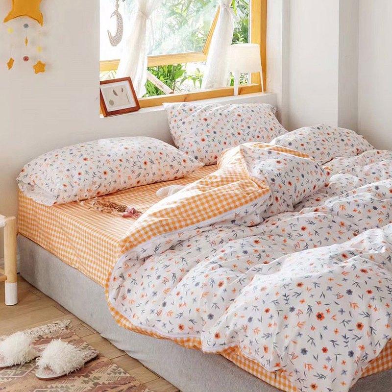床包被套組-單人 / 200織 / 精梳棉三件式 / 花見小路 台灣製