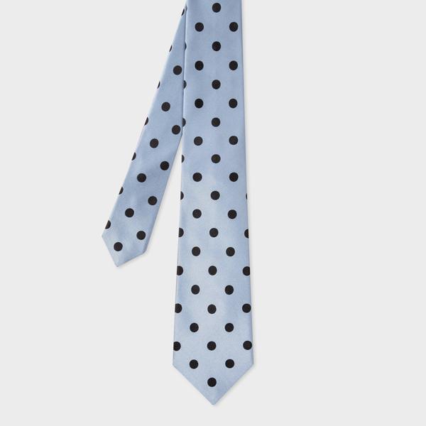 Men's Light Blue Polka Dot Silk Tie