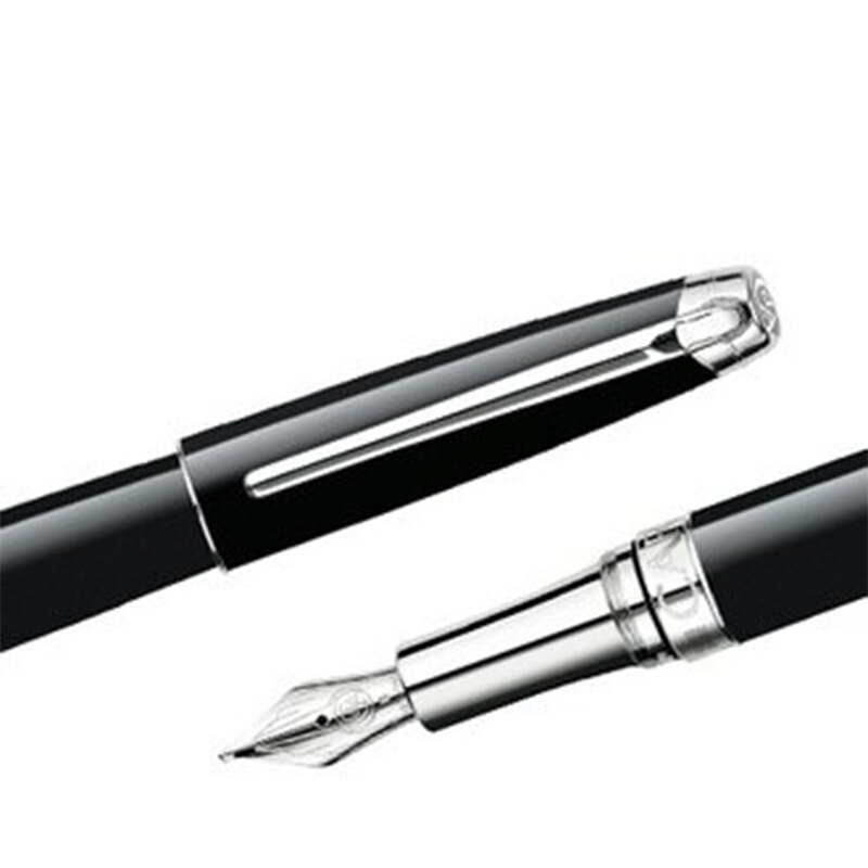 CARAN d'ACHE 瑞士卡達 LEMAN 利曼亮黑漆鋼筆(銀夾)-B / 支