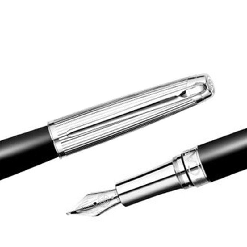 CARAN d'ACHE 瑞士卡達 LEMAN 利曼霧黑漆鋼筆(銀蓋)-B / 支