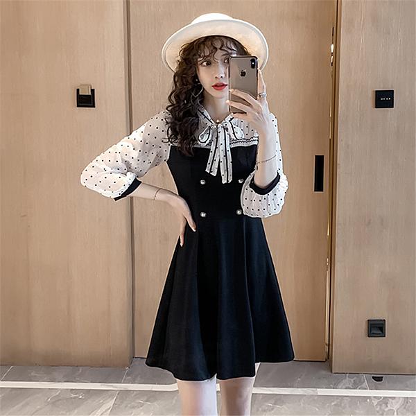 出清388 韓系優雅淑女氣質蝴蝶結領波點拼接長袖洋裝