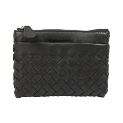 BOTTEGA VENETA 經典編織小羊皮零錢鑰匙包(黑)