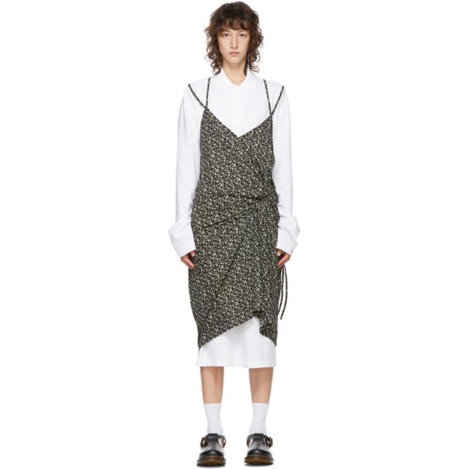 pushBUTTON SSENSE 独家发售白色 and 黑色 Polo 衫连衣裙