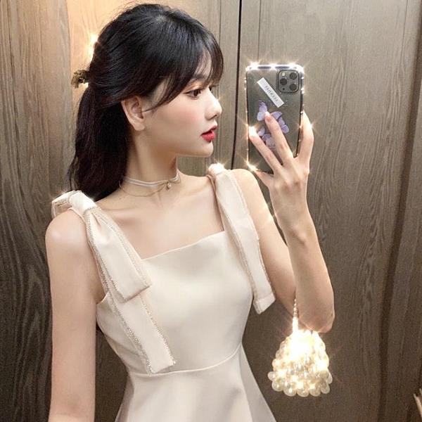禮服2021夏季新款重工蝴蝶結亮鑽禮服裙子氣質收腰顯瘦A字連身裙女裝 雲朵走走