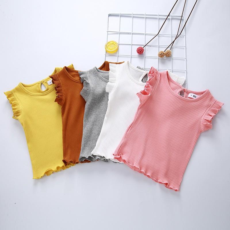 韓版女童可愛純色無袖 圓領荷葉邊打底衫 上衣【IU貝嬰屋】