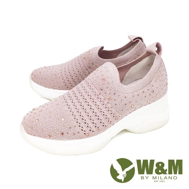 W&M(女) 圓頭亮鑽飛織內增高鞋 厚底鞋 女鞋-粉(另有黑)