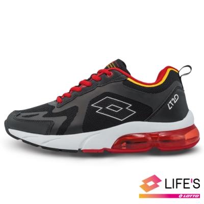 LOTTO 義大利 男 LT20 氣墊跑鞋(黑/紅)