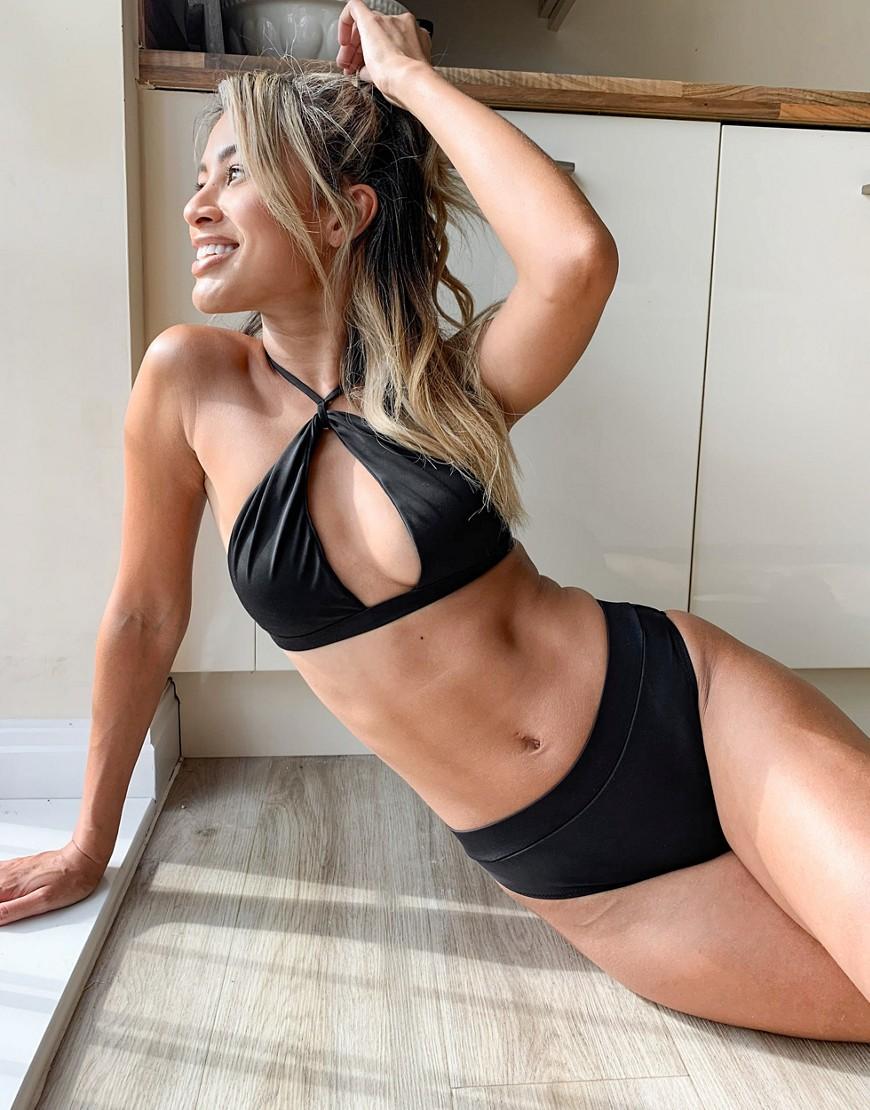 Swim Society Corsica high waist high leg bikini bottom in black