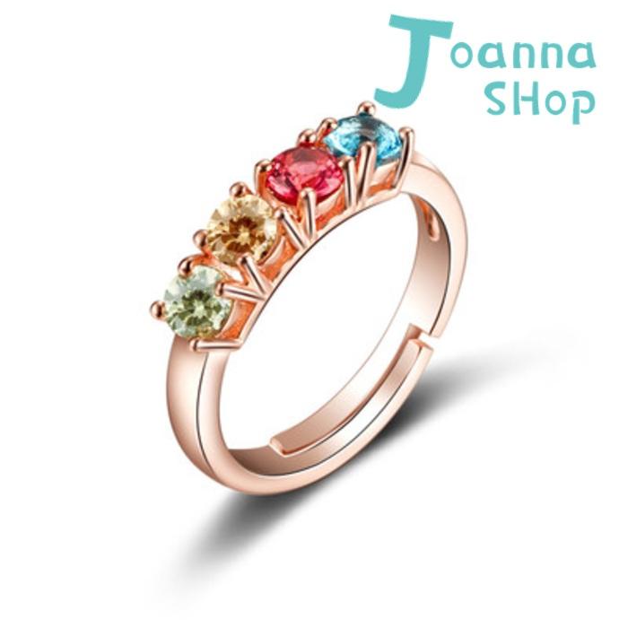 S925銀 玫瑰金韓是四色彩紅寶鑽精緻活圍戒指(含禮盒)1-Joanna Shop