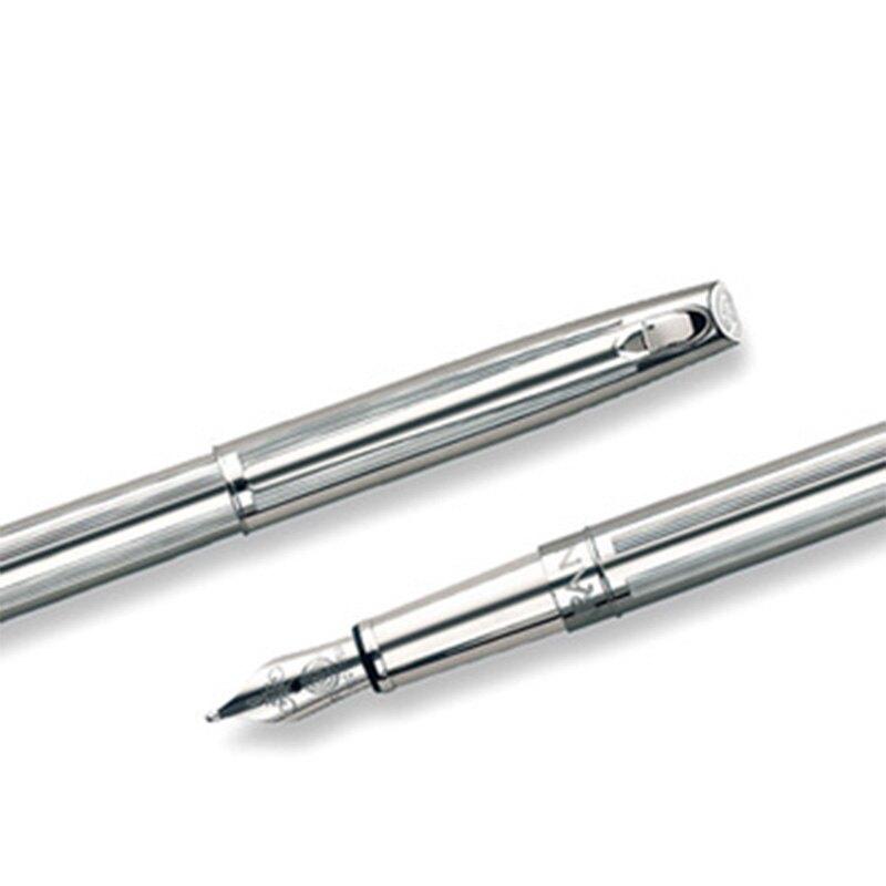 CARAN d'ACHE 瑞士卡達 MADISON 麥迪森鍍銀直紋鋼筆-F / 支