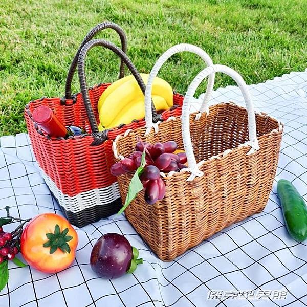 野餐籃菜籃子購物籃塑膠藤編編織買菜水果道具野餐用品全套網紅手提ins 傑克型男館
