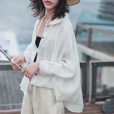 苧麻蝙蝠袖襯衫 純色寬鬆空調衫 單排扣翻領上衣/3色-夢想家-0803