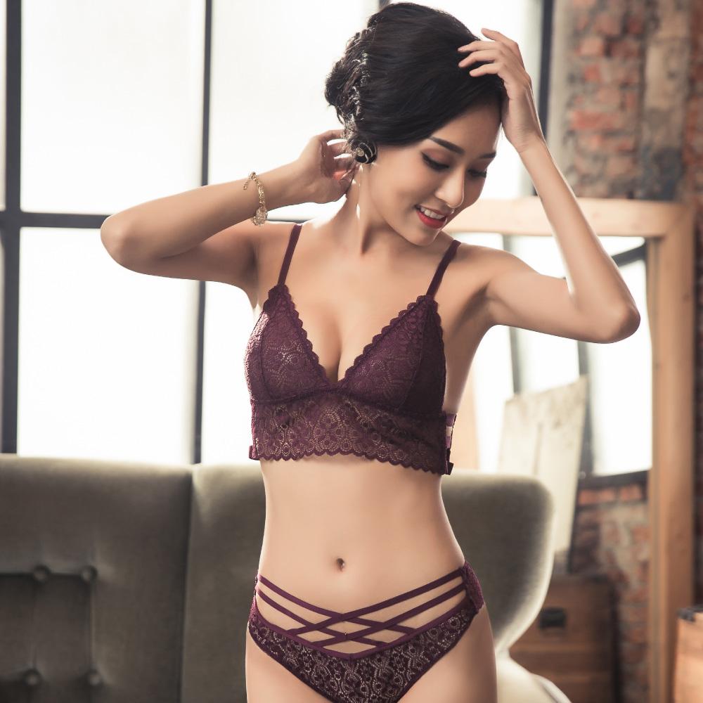 薄蕾絲內衣-祕密透視-MiniQueen 法式性感透膚薄蕾絲成套內衣 (紫 S M L XL)