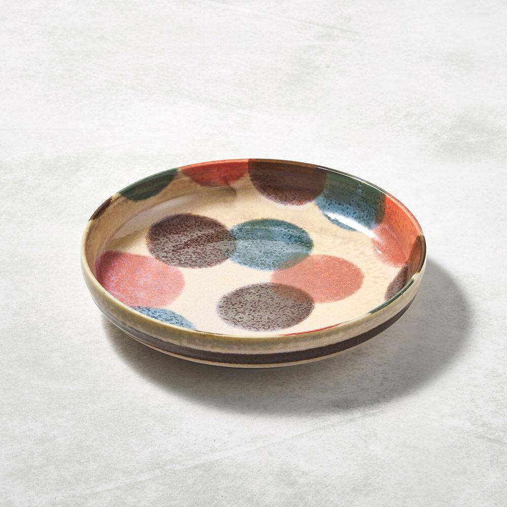 日本AWASAKA美濃燒 - 筆青釉繪深盤 - 粉點打