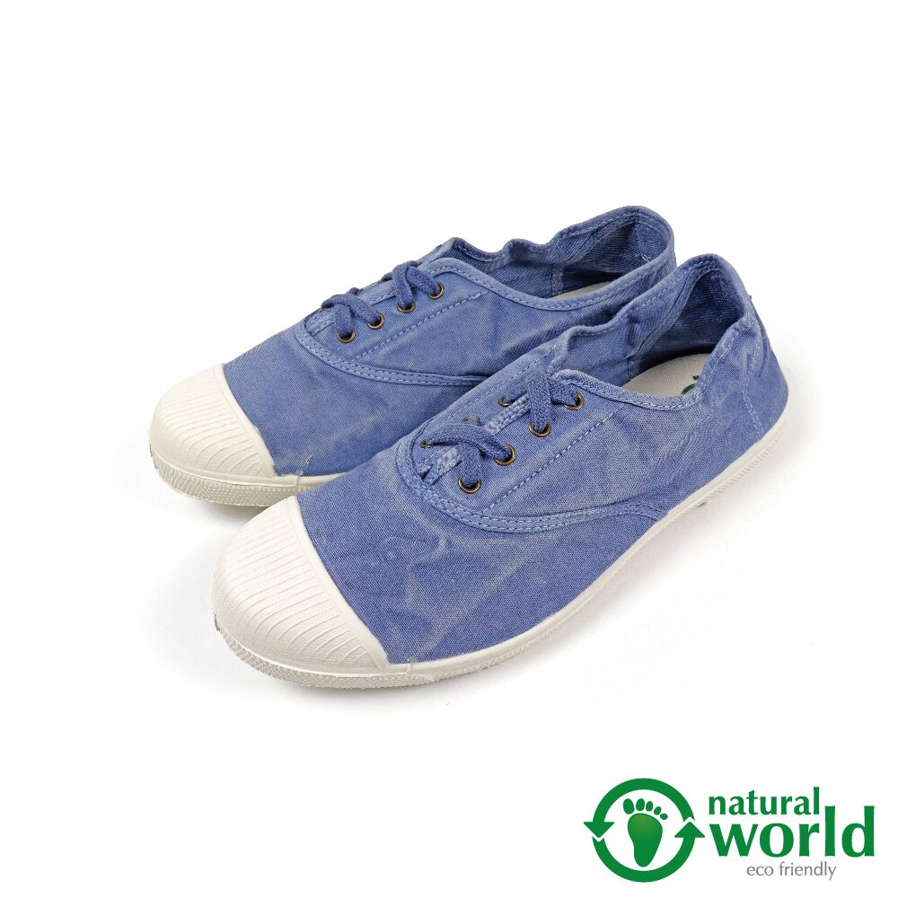【Natural World】經典素面刷色綁帶手工帆布鞋 天藍色(102E-LBU)
