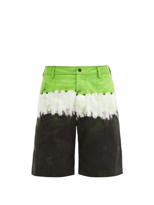 Valentino - Jelly Block-print Denim Shorts - Mens - Green Multi