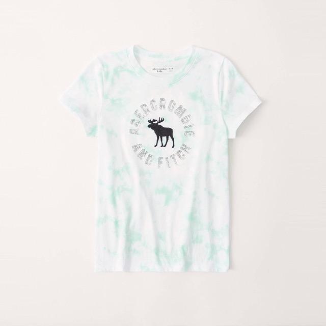 A&F 麋鹿 經典刺繡大麋鹿亮片文字短袖圖案T恤(女青年款)-白渲染色