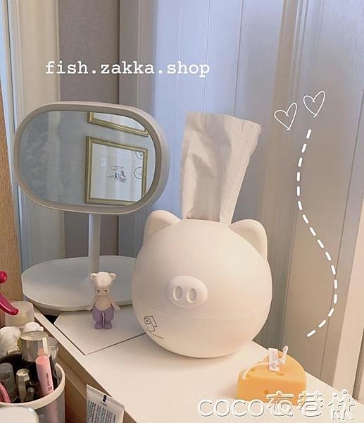 紙巾盒小魚家北歐風圓臉小豬紙巾抽衛生卷紙收納盒塑料  COCO
