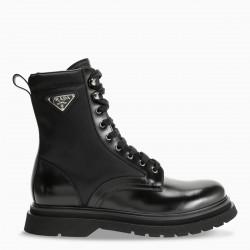 Prada Black leather and fabric combat boots