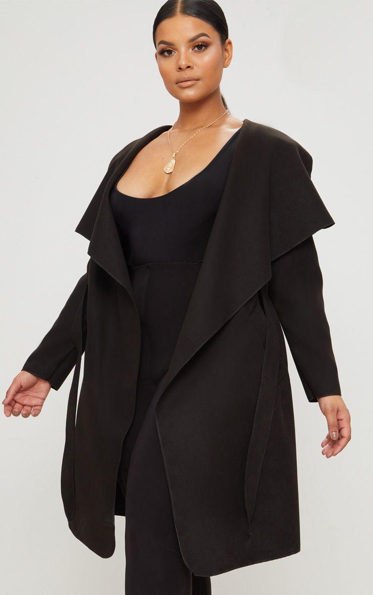 Plus Black Waterfall Coat