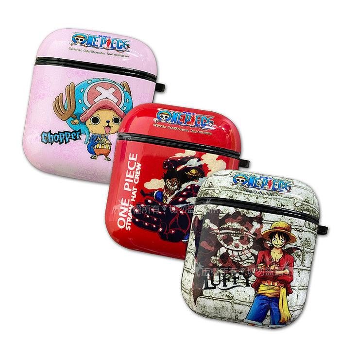 正版授權 航海王 AirPods 1/2代通用 TPU彩繪耳機盒保護套(藍帽喬巴/四檔魯夫/