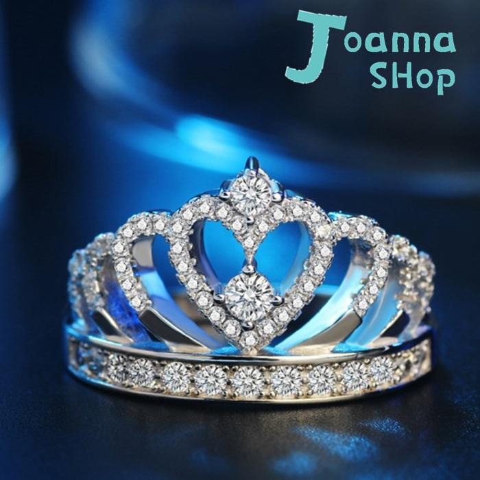 S925銀 韓新皇冠活圍戒指(含禮盒)1-Joanna Shop